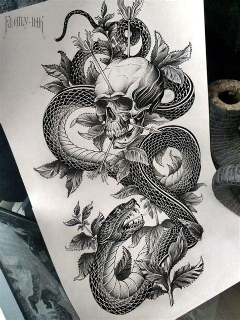 snake and skull tattoo designs snake with skull design family ink