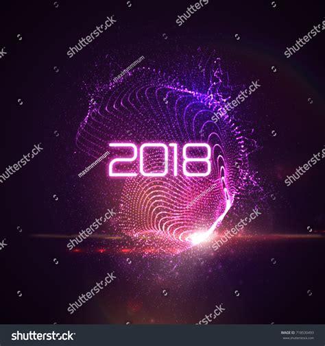 glowing 2018 happy new year happy new 2018 year vector stock vector 718530493