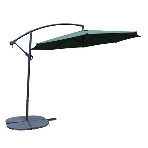 Cantilever Patio Umbrella With Base 10 Ft Cantilever Patio Umbrella In Green With 4