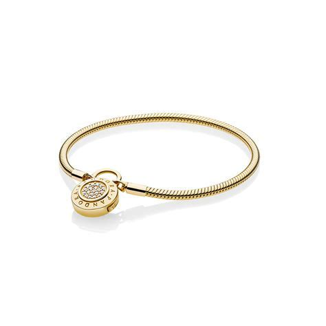 Smooth PANDORA Shine? Bracelet, Signature Padlock, Clear