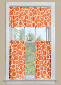 Kitchen curtain valance and tier pair with geometric design in orange