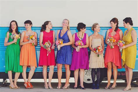Bright Coloured Bridesmaid Dresses - real wedding summer adam modern