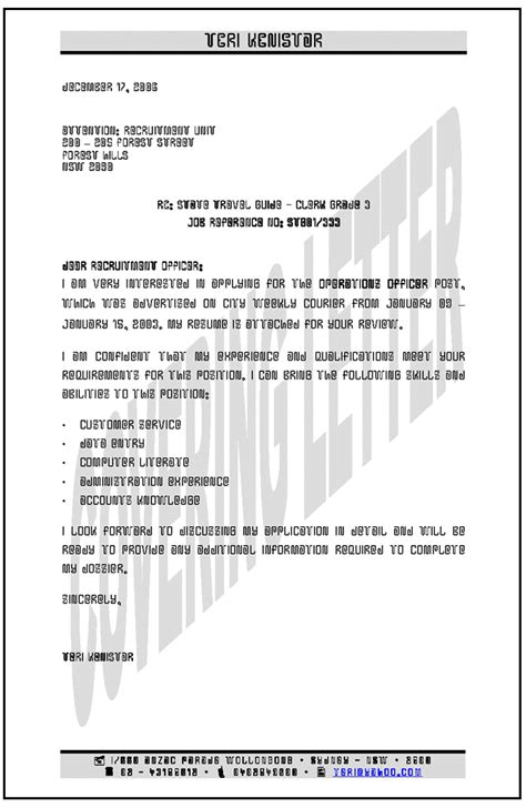 Cover Letter Format Australia Sle Cover Letter For Resume Katy Perry Buzz