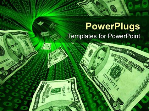 Money Powerpoint Templates Free Powerpoint Template Money Bills Flowing Through A Tunnel