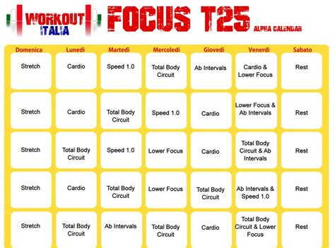 Calendario T25 Alpha Shaun T S Focus T25 Workout Italia