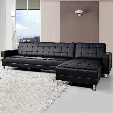 4 Seater Sofa Bed 4 Seater Pu Leather Sofa Bed W Chaise Black Buy Sofa Beds