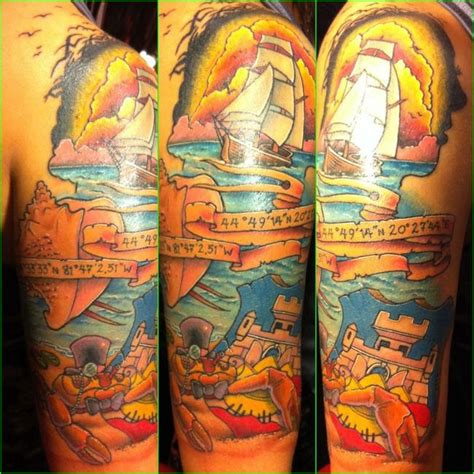 ocean tattoo quarter sleeve ocean themed half sleeve taste of ink pinterest