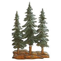 pine trees wood carving wall cabin decor
