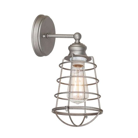 Galvanized Wall Sconce Design House Kimball 1 Light Galvanized Steel Indoor Sconce 519892 The Home Depot