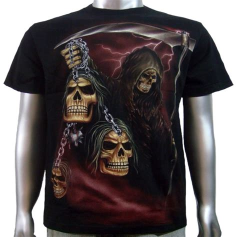 In Chains 5 T Shirt M grim reaper skull bones rock biker metal chain mens boy s t shirt m l ebay