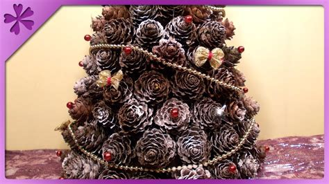 How To Make A Pine Tree Out Of Paper - diy pine cones tree eng subtitles speed up