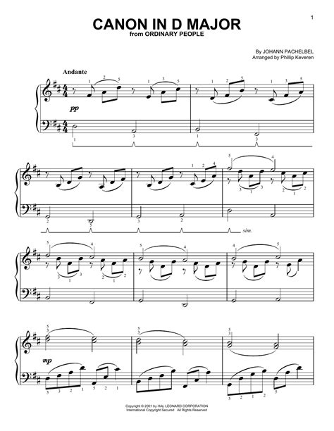 printable piano sheet music canon in d canon in d sheet music by johann pachelbel easy piano