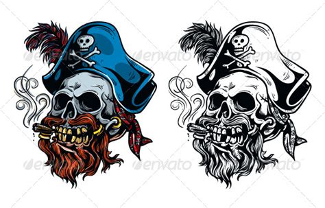 vintage pirate skull tattoo graphicriver