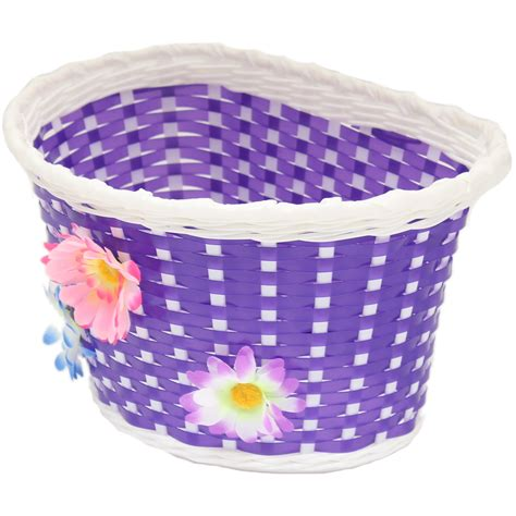 basket for bike pedalpro purple flower bicycle basket childs childrens for bike cycle ebay