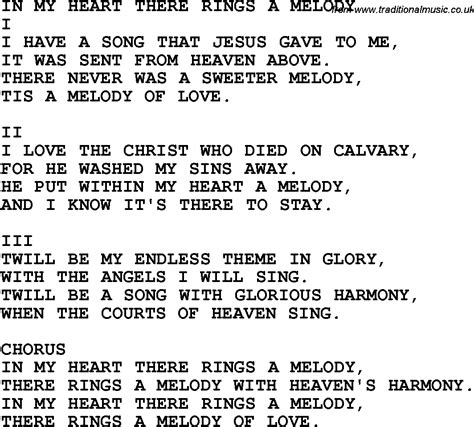 melody lyrics country southern and bluegrass gospel song in my