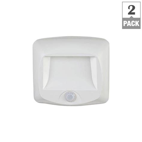 White Outdoor Motion Sensor Light Mr Beams Wireless White Outdoor Motion Sensing Step Deck Light 2 Pack Mb532 The Home Depot
