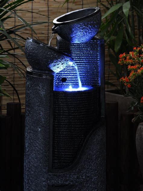 Water Fountains With Lights Solar Pillar And Bowls Water Feature With