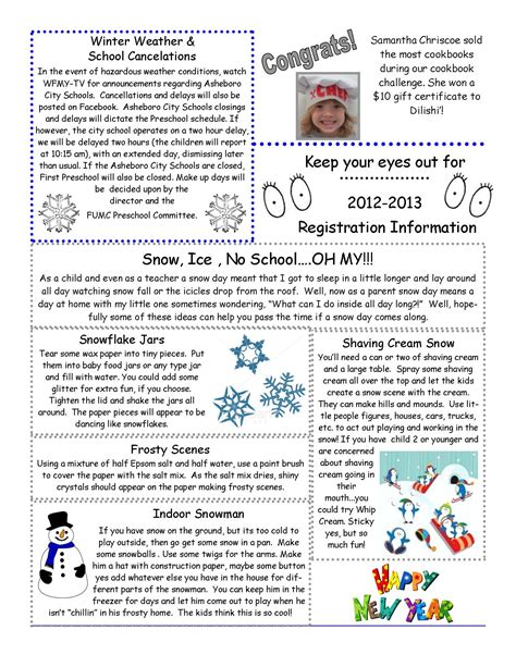 january preschool newsletter template january newsletter fumc preschool january class newsletter