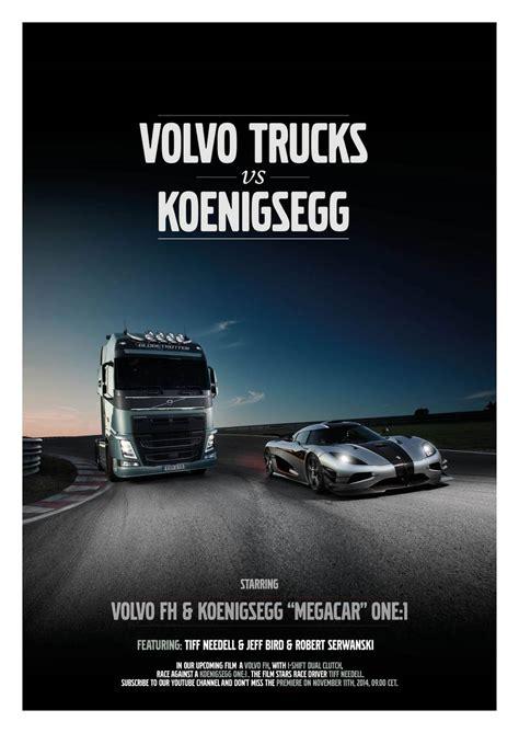 volvo trucks head video koenigsegg one 1 and volvo fh truck go head to head