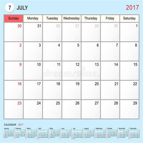 calendar design july calendar planner july 2017 stock vector image of october