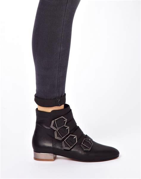 sam edelman nolan buckle ankle boots in black lyst