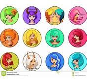 Cartoon Set Of Zodiac Signs Cute Girls Stock Illustration