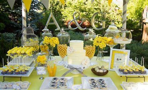 Yellow Grey Gray Garden Wedding Dessert Table Supplies