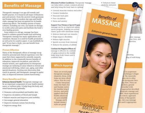 Benefits Of Massage Brochure Massage Products By Hemingway Benefits Brochure Template