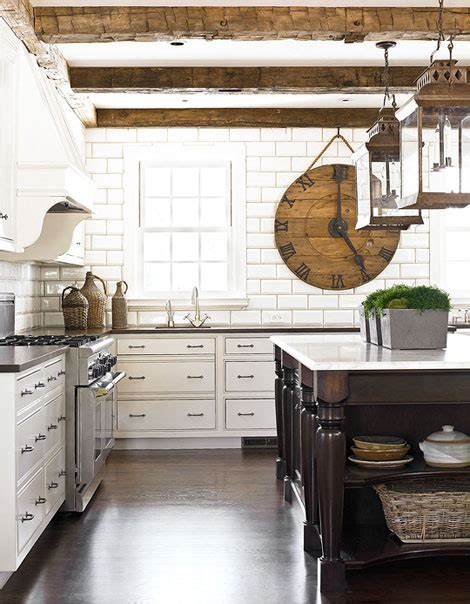 rustic white kitchen ceiling beams design ideas