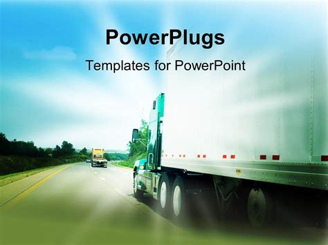 Powerpoint Template Passing A Transportation Truck On A Highway 30179 Transportation Powerpoint Templates