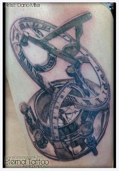 sundial tattoo compass and sundial realistic black grey