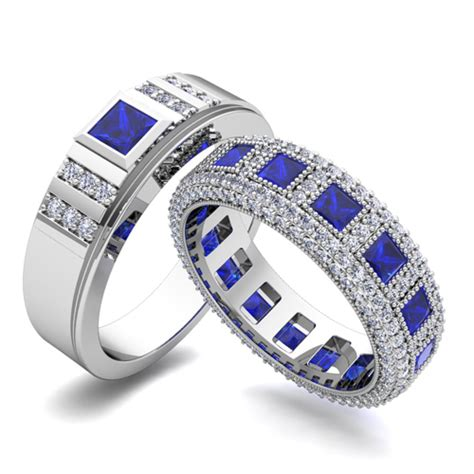 Build Princess Cut Wedding Ring Band for Him and Her