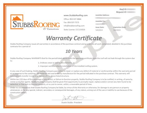 Guarantee Letter Format For Waterproofing Work 10 Year Warranty Stubbs Roofing Tallahassee