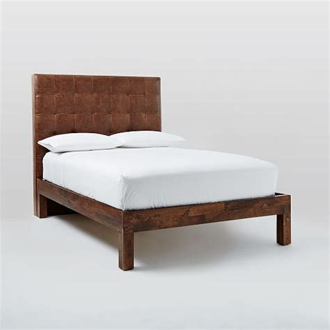 tufted leather bed grid tufted leather bed molasses west elm