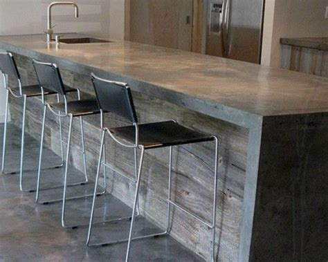 metal bar chairs concrete concrete countertops reclaimed wood bar modern for