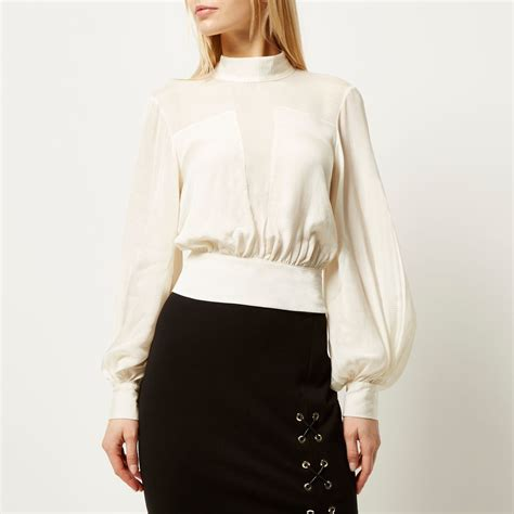 High Neck Blouse In by High Neck Blouses Lace Henley Blouse