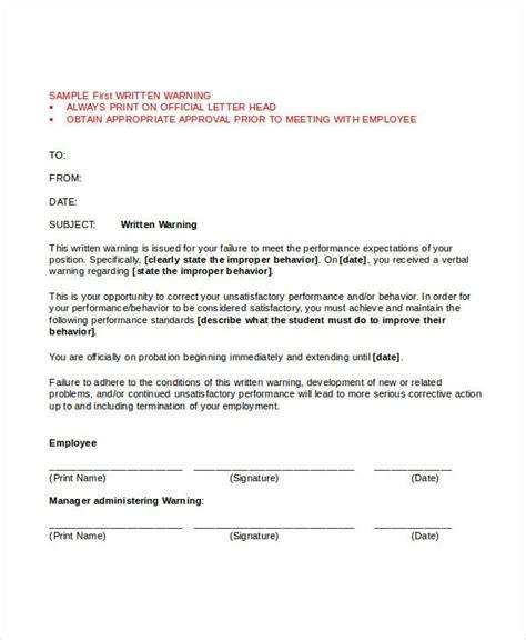 written warning letter template uk formal written warning employee template letters free