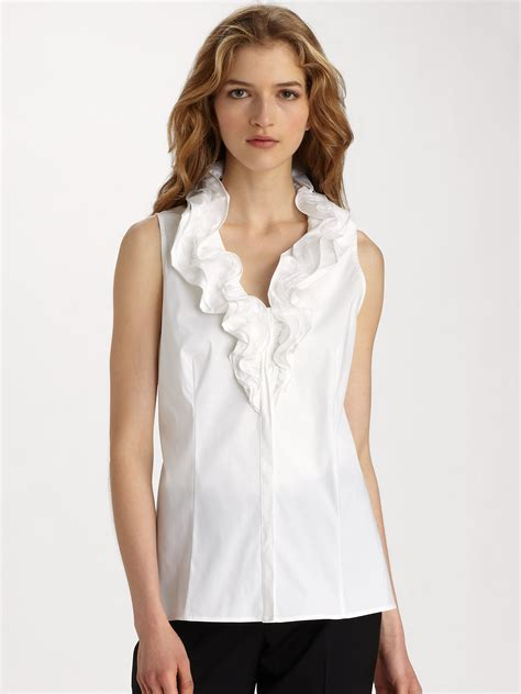Ruffle Blouse ruffle neck sleeveless blouse lace henley blouse