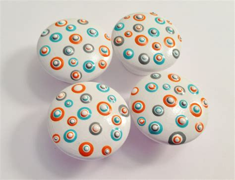 Painted Knobs by Painted White Drawer Knobs With Orange By