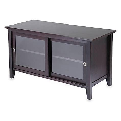 Glass Tv Cabinets With Doors Tv Stand With Glass Sliding Doors Www Bedbathandbeyond