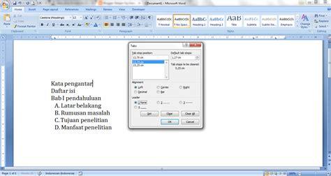 membuat titik daftar isi dengan tab cara membuat daftar isi dengan titik titik melalui quot tab