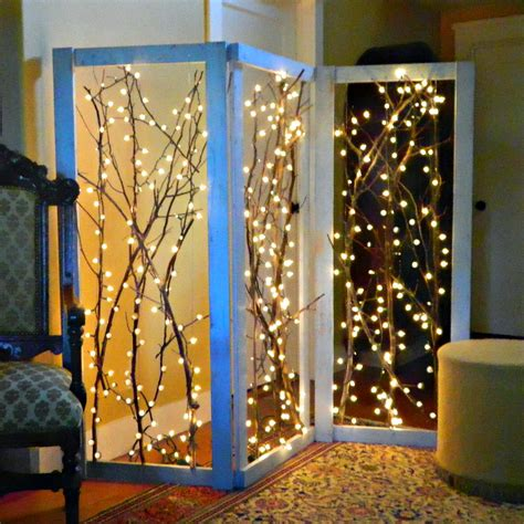 how to string lights on tree branches montano twinkling branches room divider diy