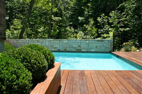 wood pool deck pool and wood deck modern pool montreal by topia