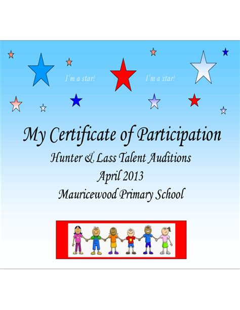 Talent Show Certificate Template by Talent Show Participation Certificate Template Free