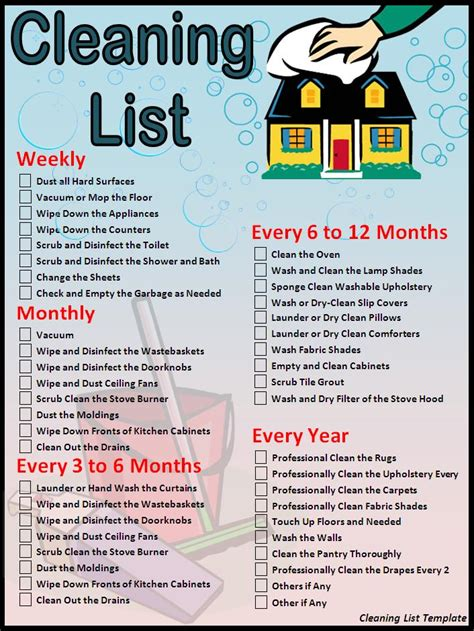 cleaning tips for home house cleaning checklist cleaning list template download