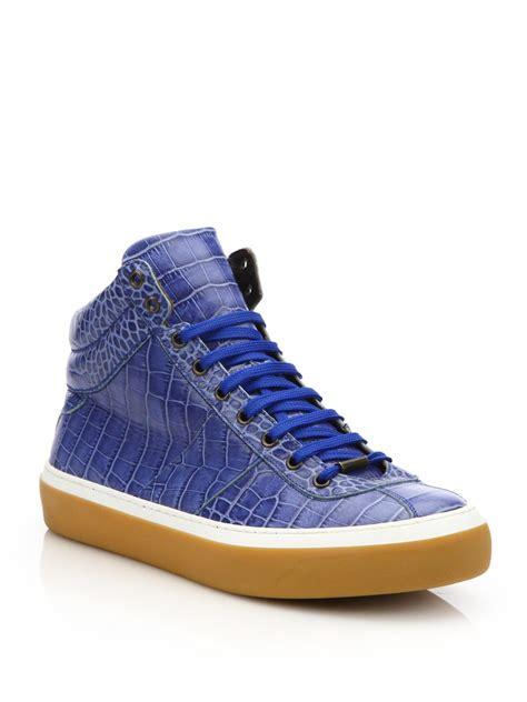 blue sneakers jimmy choo shiny croc embossed high top sneakers in blue