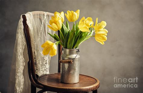 still life with yellow tulips photograph by nailia schwarz