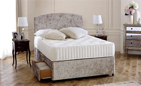 4ft small double bed premium cream crushed velvet 4ft small double divan bed