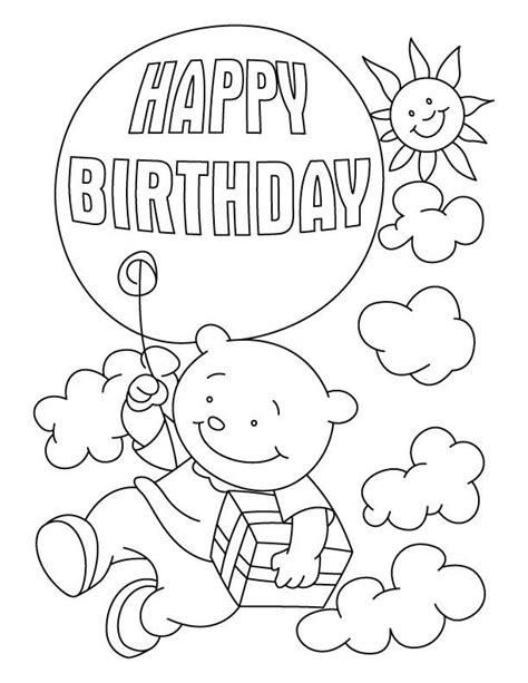 birthday card coloring pages coloring home