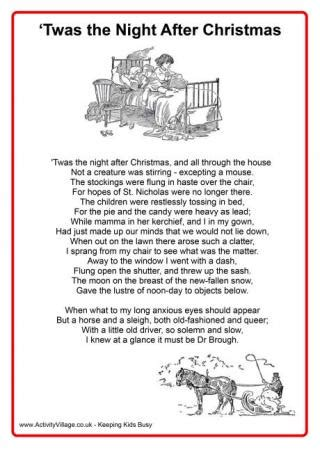 printable version of night before christmas christmas stories and poems
